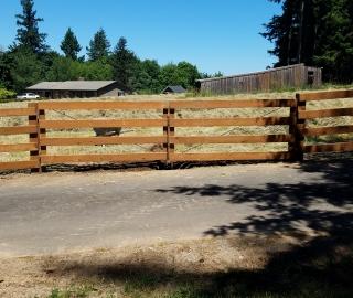 reisdential 4-rail wood double swing gate
